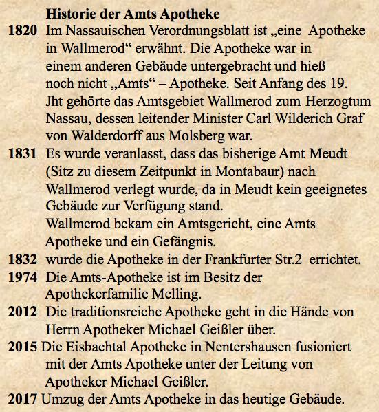 Amts Apotheke Historie