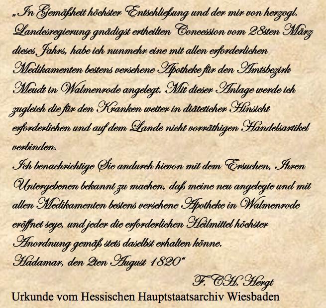 Amts Apotheke 1820