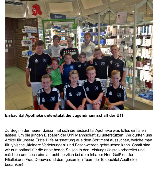 Spende Jugendmannschaft U11 Eisbachtal Apotheke