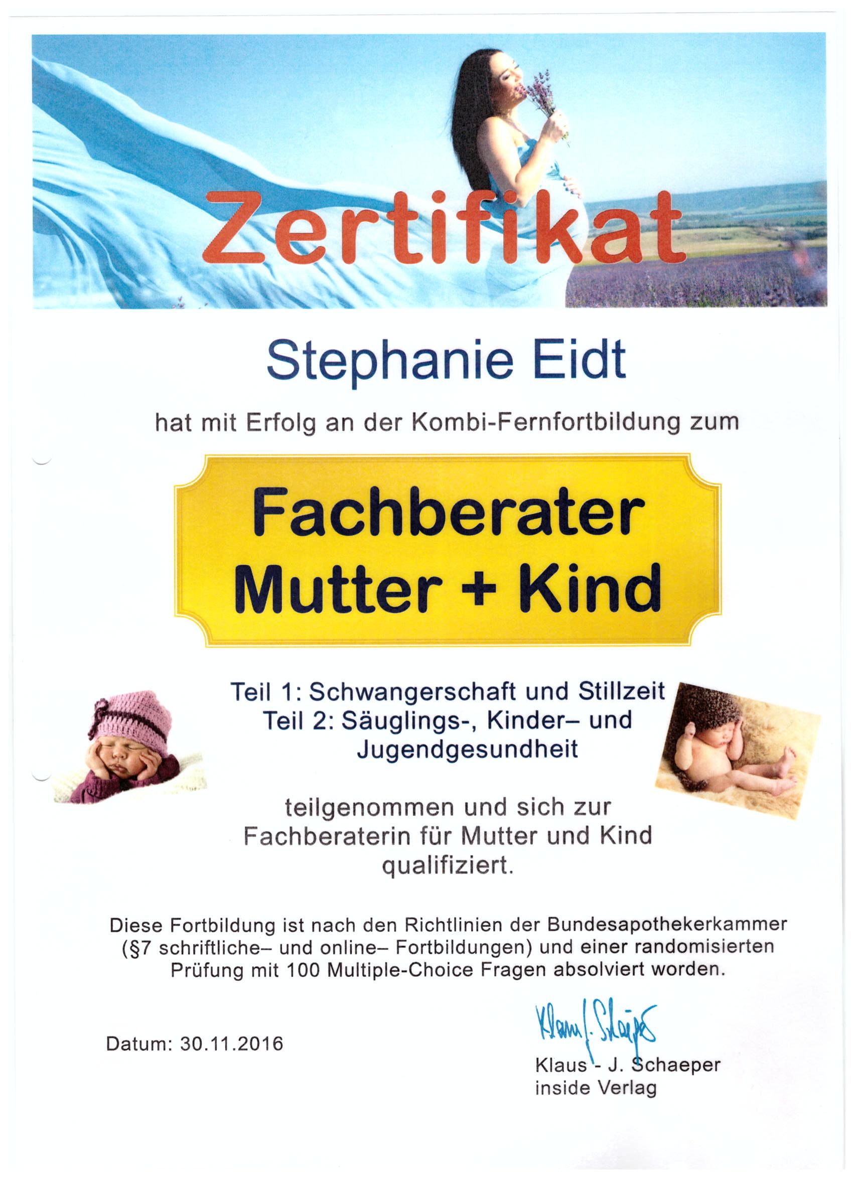 Eisbachtal Apotheke Zertifikat Mutter-Kind Beratung Stephanie Eidt